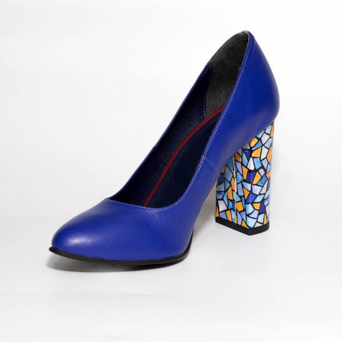 Pantofi dama din piele naturala albastra MSPD190-26-19 [2]