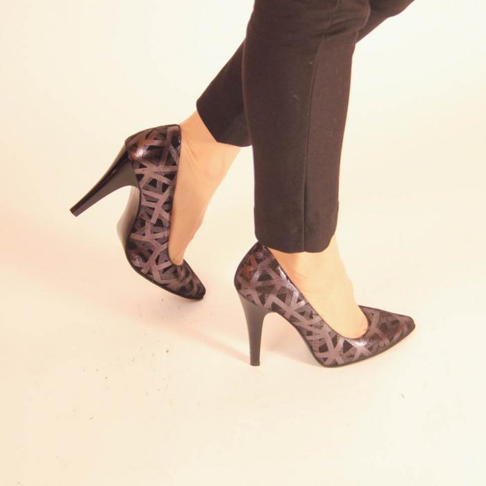 Pantofi dama din piele naturala cu imprimeu MSPD190-12-20 [0]