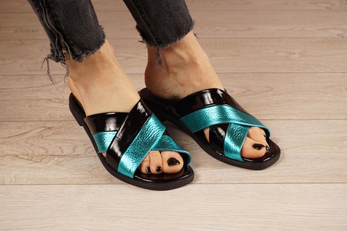 Papuci din piele naturala neagra MSSD0721-21 [0]