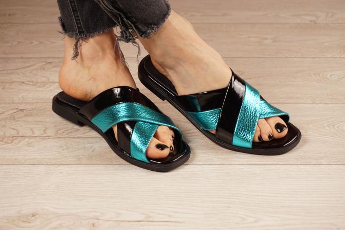 Papuci din piele naturala neagra MSSD0721-21 [1]