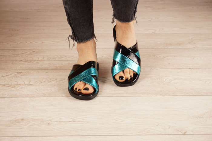 Papuci din piele naturala neagra MSSD0721-21 [2]