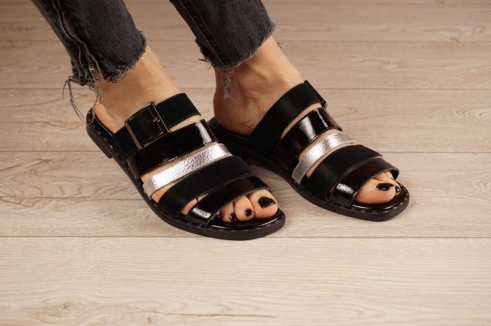 Papuci din piele naturala neagra MSSD1121-21 [0]