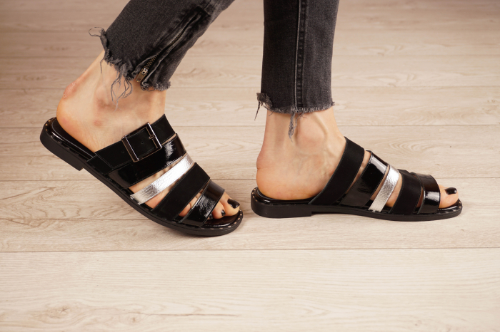 Papuci din piele naturala neagra MSSD1121-21 [2]