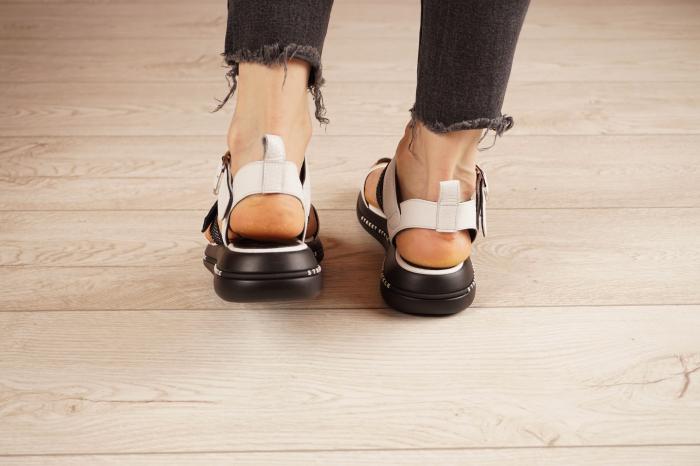 Sandale din piele naturala alb cu negru MSSD7420-21 [4]