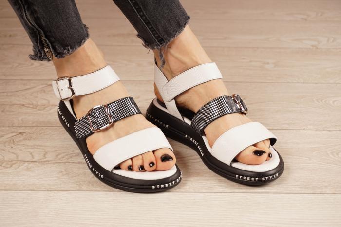 Sandale din piele naturala alb cu negru MSSD7420-21 [0]