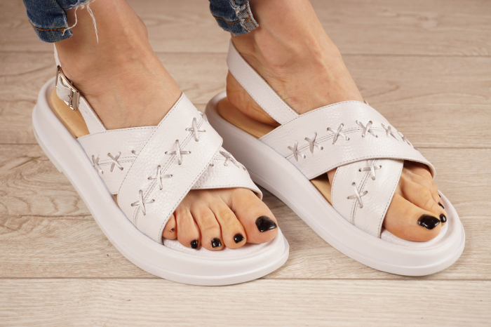 Sandale din piele naturala alba MSSD0321-21 [0]