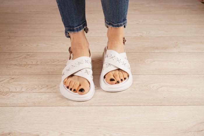 Sandale din piele naturala alba MSSD0321-21 [3]
