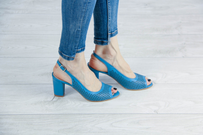 Sandale din piele naturala albastra laserata MSSD4218L3-1-20 [0]