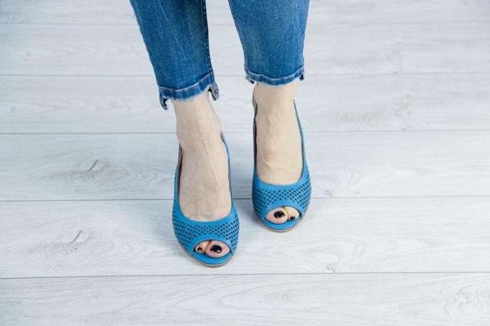 Sandale din piele naturala albastra laserata MSSD4218L3-1-20 [2]