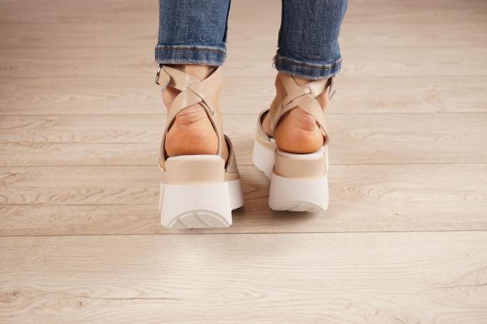 Sandale din piele naturala croco nude MSSD2220-1-21 [4]
