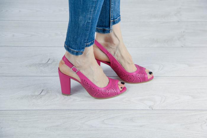 Sandale din piele naturala fuxia laserata MSSD3411L8-5-20 [0]