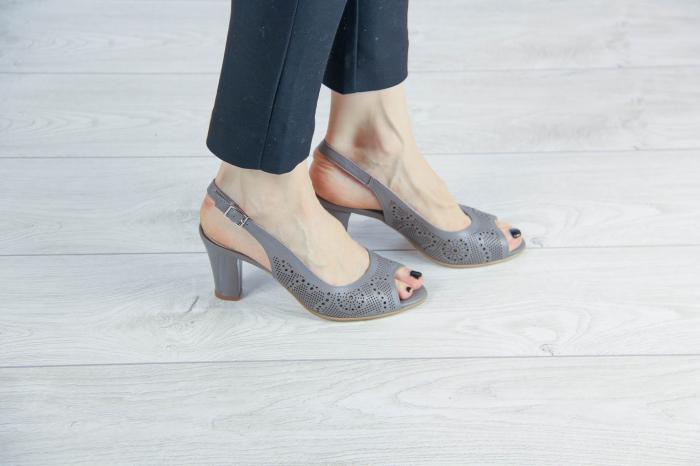 Sandale din piele naturala grej laserata MSSD3411L8-3-20 [0]