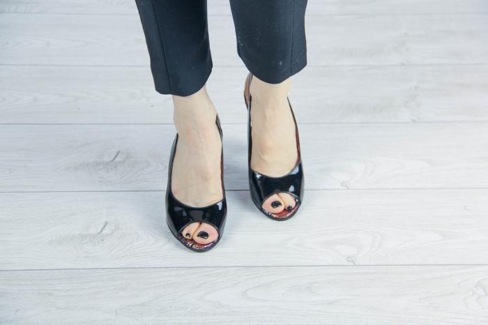 Sandale din piele naturala lacuita neagra MSSD3411-1-20 [2]