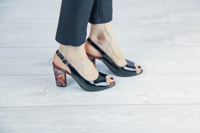 Sandale din piele naturala lacuita neagra MSSD3411-1-20 [0]