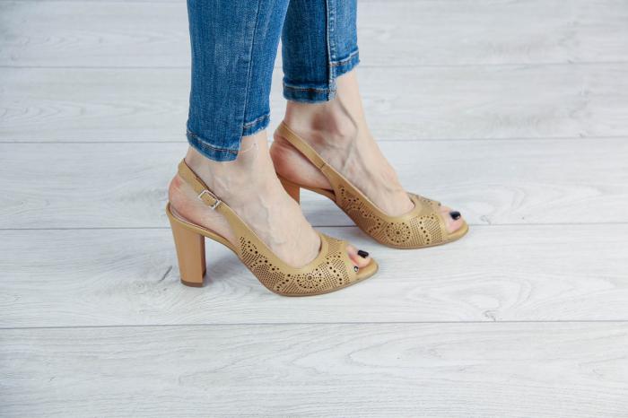 Sandale din piele naturala nude laserata MSSD3411L8-2-20 [0]
