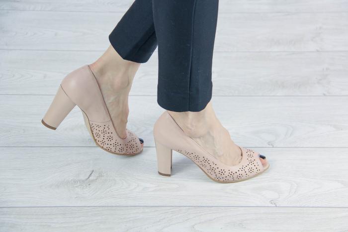 Pantofi decupati din piele naturala nude laserata MSSD4212L43-20 [0]