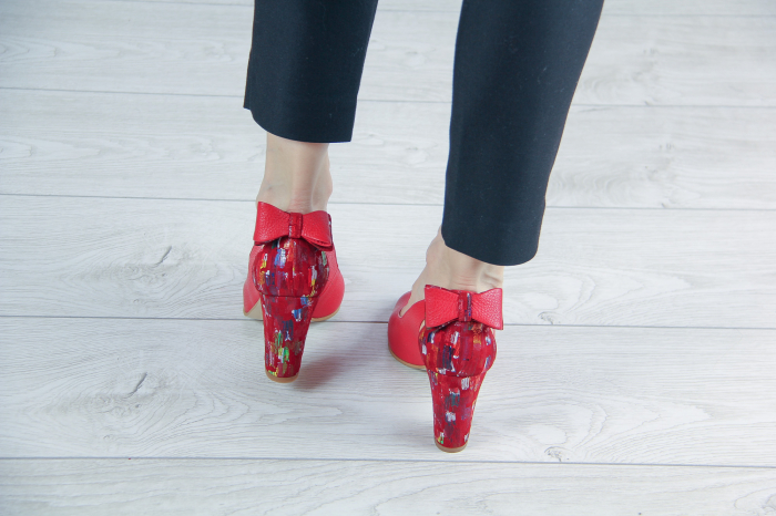 Pantofi decupati din piele naturala rosie MSSD3219-20 [3]