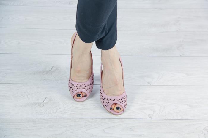 Sandale din piele naturala roz pudra laserata MSSD0619L44-20 [1]