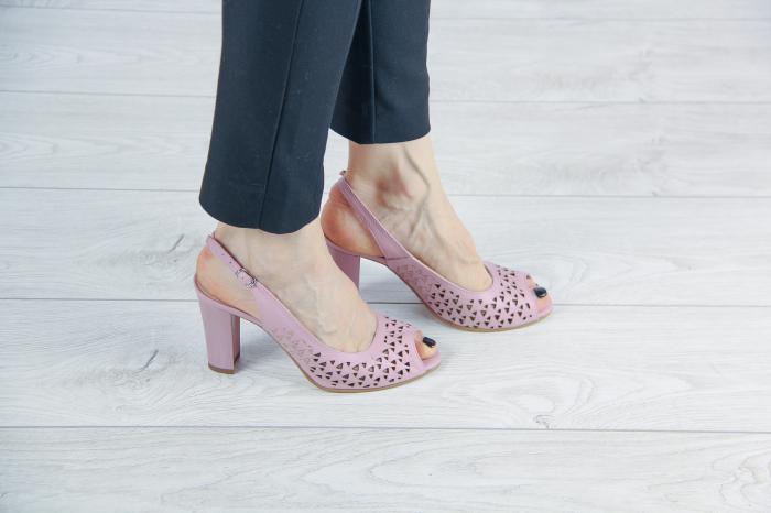 Sandale din piele naturala roz pudra laserata MSSD0619L44-20 [0]
