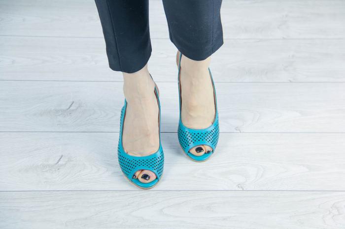 Sandale din piele naturala verde turcoaz laserata MSSD4218L3-4-20 [2]