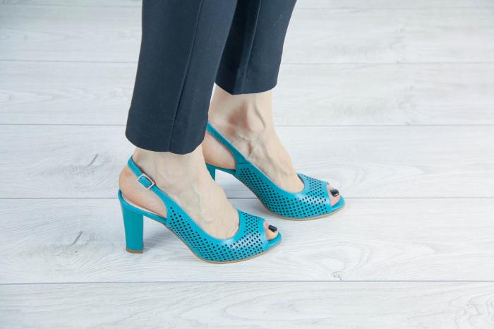 Sandale din piele naturala verde turcoaz laserata MSSD4218L3-4-20 [0]