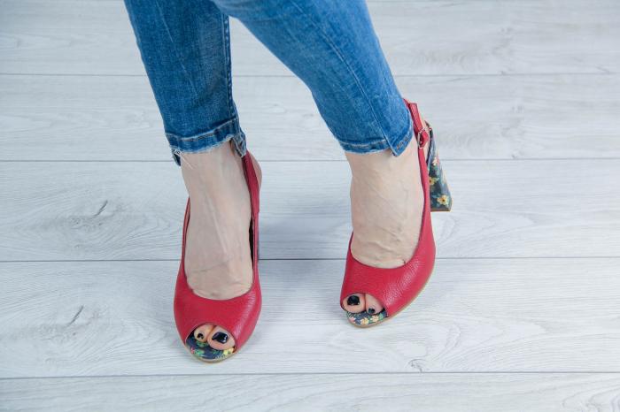 Sandale din piele rosie MSSD0619-2-20 [2]