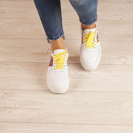 Adidasi dama din piele naturala bizonata alba MSPD61220-202