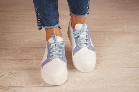 Adidasi dama din piele naturala alba MSPD61520-203