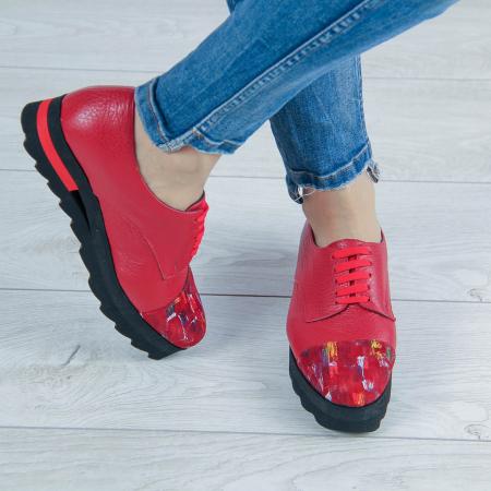 Pantofi dama din piele naturala bizonata rosie MSPD59016-2-200
