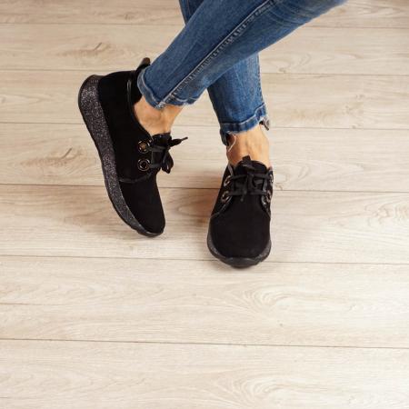 Adidasi dama din piele naturala camoscio negru MSPD52820-20 [1]