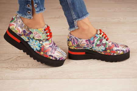 Pantofi dama din piele naturala cu imprimeu MSPD53017-18-202