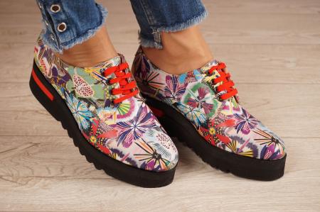 Pantofi dama din piele naturala cu imprimeu MSPD53017-18-200