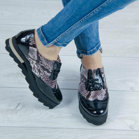 Pantofi dama din piele naturala cu imprimeu MSPD57218-1-200