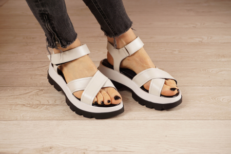 Sandale din piele naturala alba MSSD0821-21 [1]