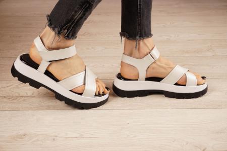 Sandale din piele naturala alba MSSD0821-21 [2]