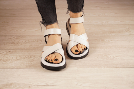 Sandale din piele naturala alba MSSD0821-21 [3]