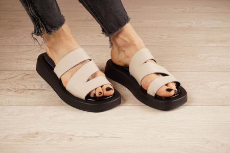 Papuci din piele naturala nude MSSD3221-21 [0]