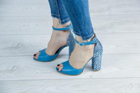 Sandale din piele naturala albastra MSSD15616-20 [0]