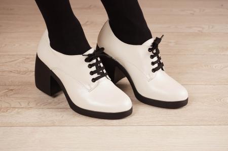Pantofi dama din piele naturala alba MSPD54921-21 [1]