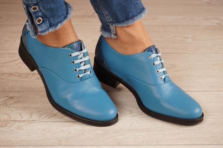 Pantofi dama din piele naturala albastra MSPD52420-1-20 [0]