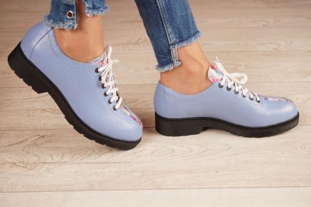 Pantofi dama din piele naturala albastra MSPD61420-202