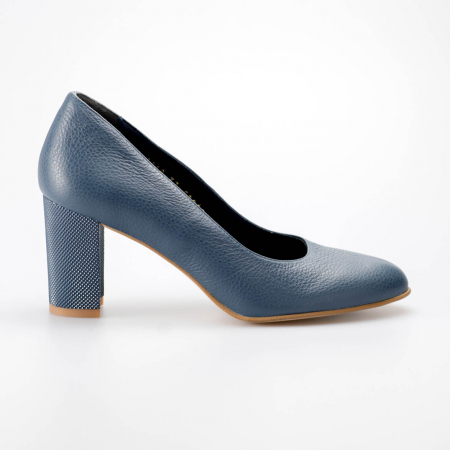 Pantofi dama din piele naturala bizonata albastra MSPD52017-5-19 [0]