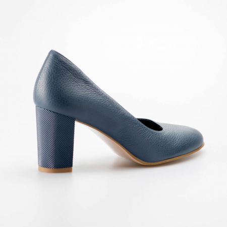 Pantofi dama din piele naturala bizonata albastra MSPD52017-5-19 [1]