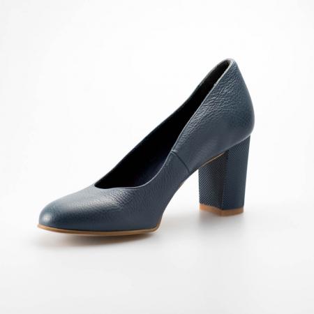 Pantofi dama din piele naturala bizonata albastra MSPD52017-5-19 [2]