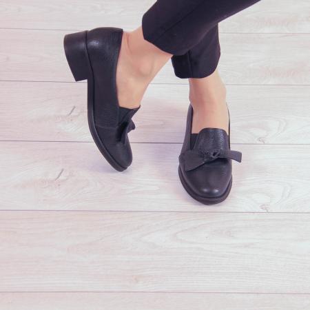Pantofi dama din piele naturala bizonata neagra MSPD57319-1-200