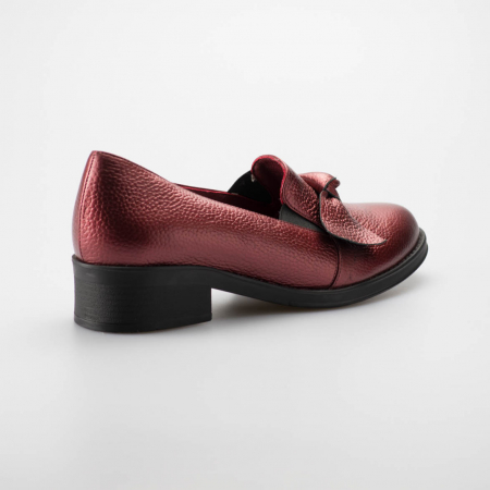 Pantofi dama din piele naturala bizonata bordo MSPD57319-19 [1]