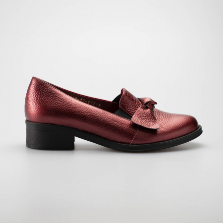 Pantofi dama din piele naturala bizonata bordo MSPD57319-19 [0]