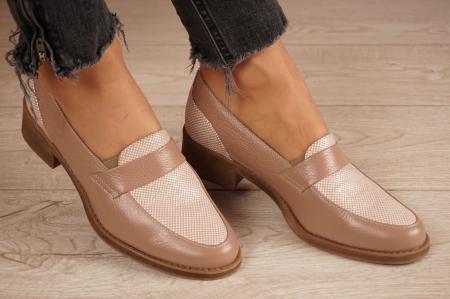 Pantofi dama din piele naturala bej MSPD58120-200