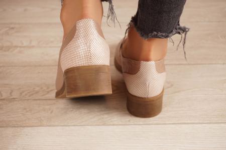 Pantofi dama din piele naturala bej MSPD58120-204