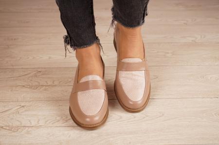 Pantofi dama din piele naturala bej MSPD58120-203